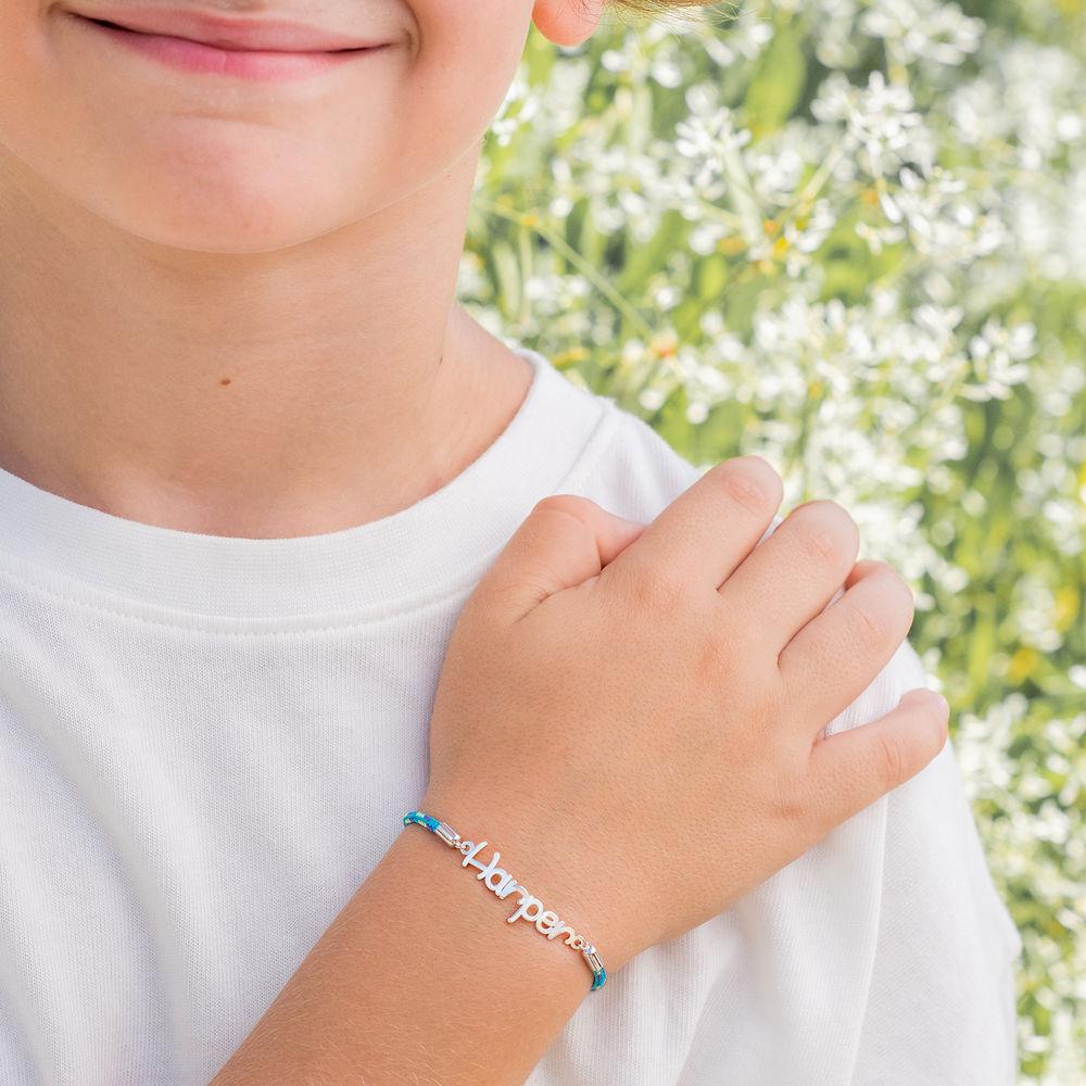Name Cord Bracelet for Kids in Sterling Silver - 4
