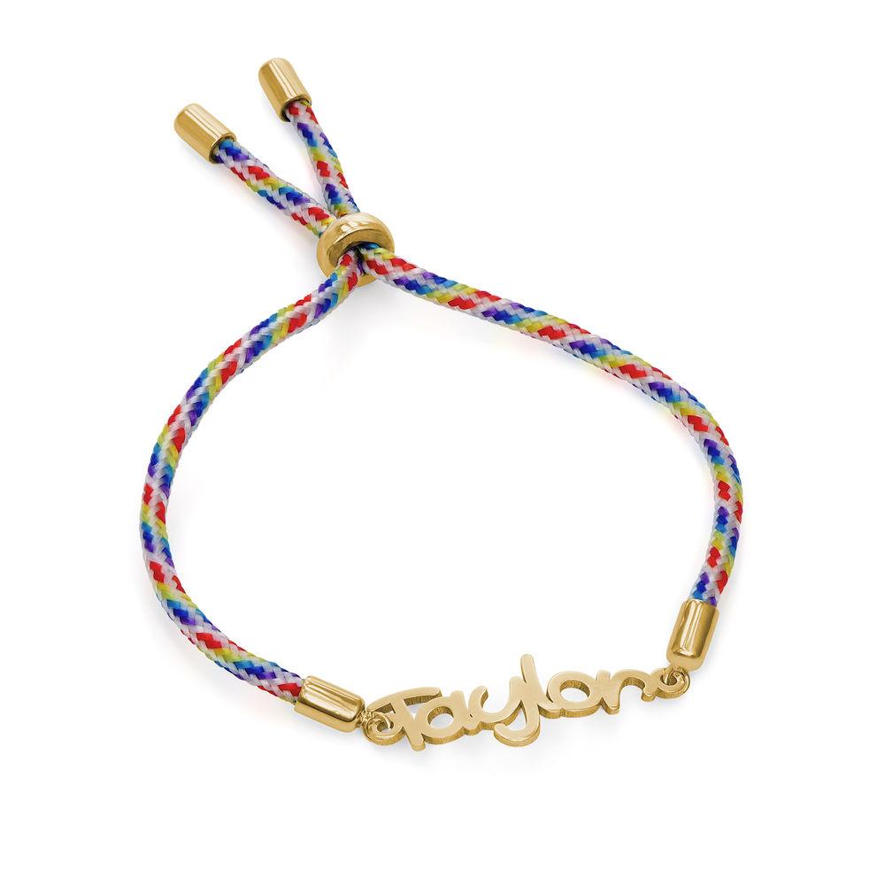 Name Cord Bracelet for Kids in Gold Plating