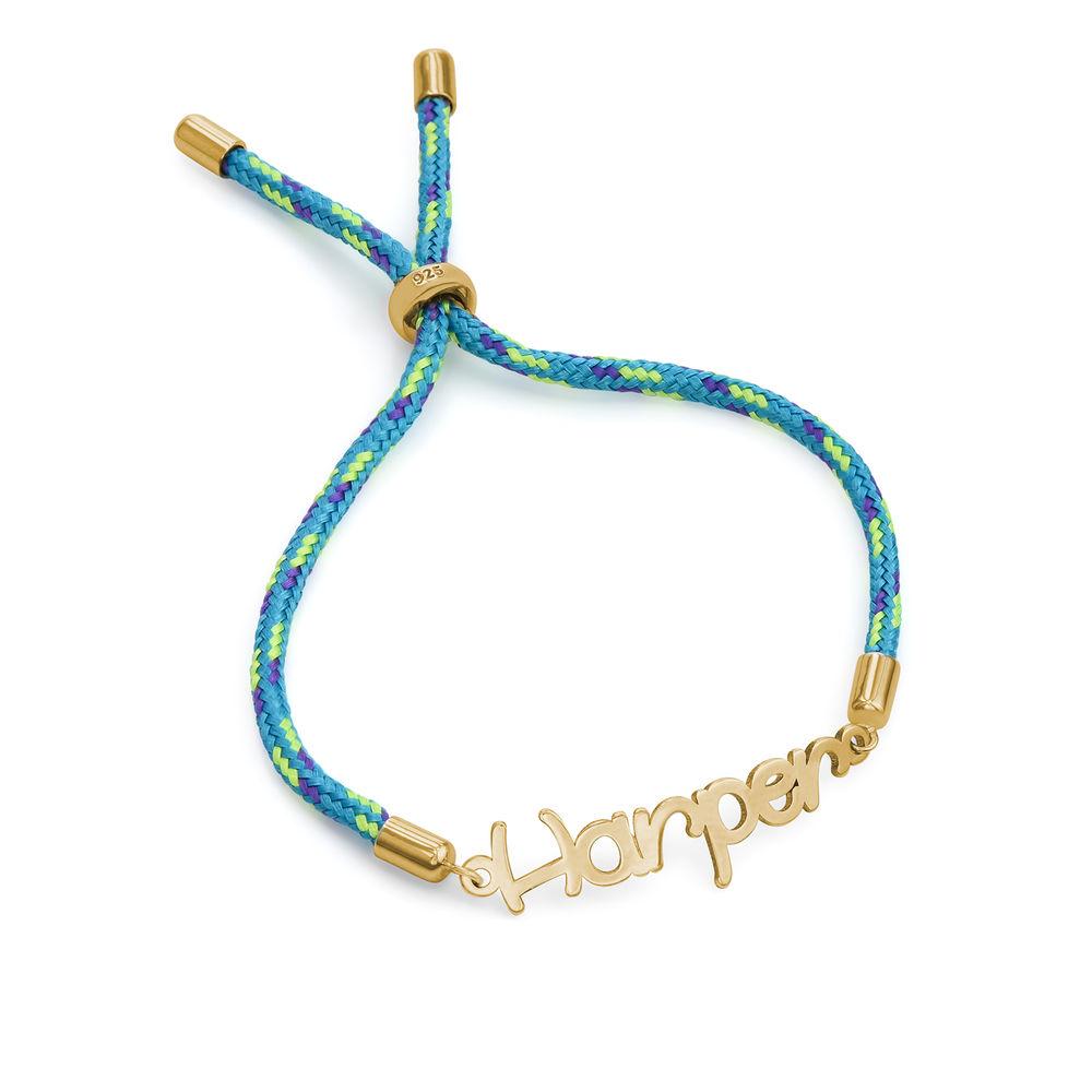 Name Cord Bracelet for Kids in Gold Plating - 1