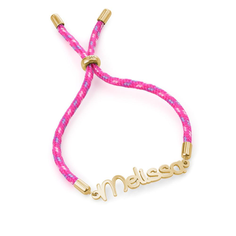 Name Cord Bracelet for Kids in Gold Plating - 2