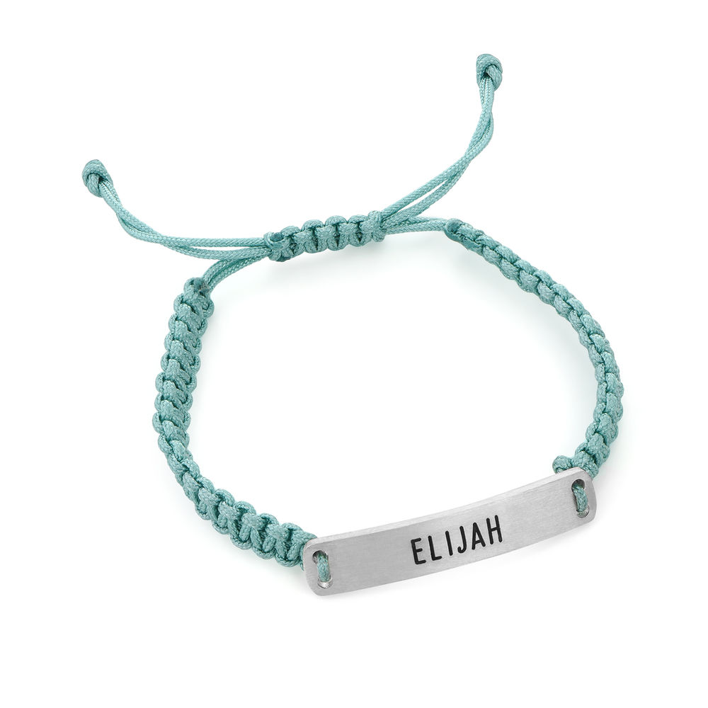 Kids ID Braided Cord Bracelet in Sterling Silver - 1