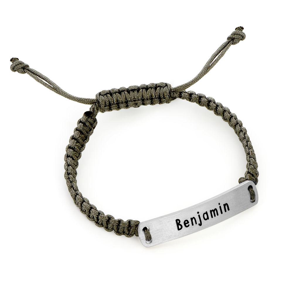 Kids ID Braided Cord Bracelet in Sterling Silver - 2