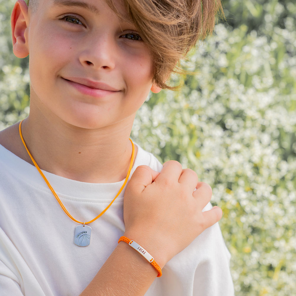 Kids ID Braided Cord Bracelet in Sterling Silver - 4