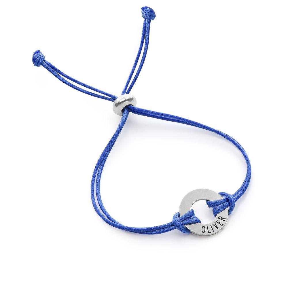 Kids ID Wax Cord Bracelet in Sterling Silver