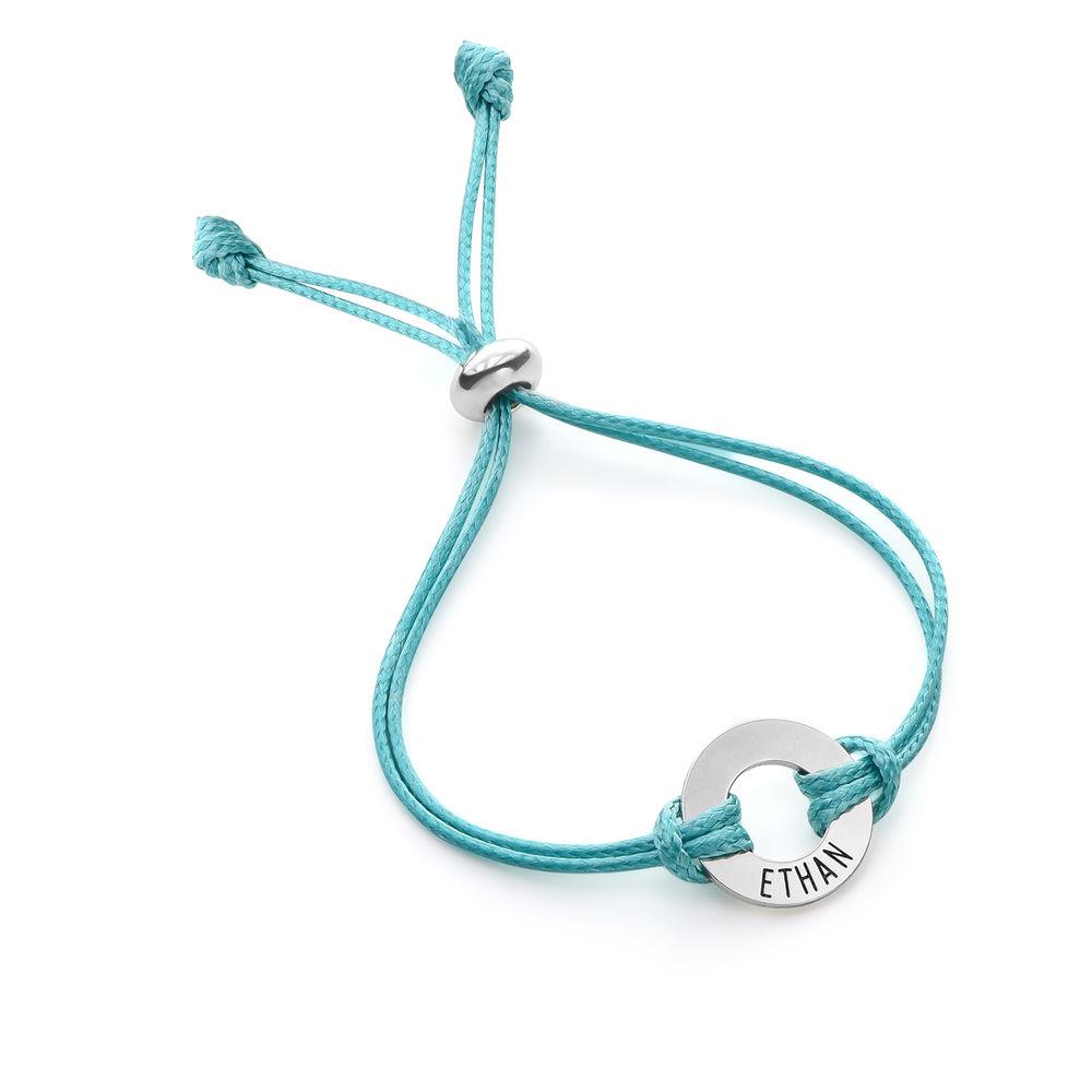 Kids ID Wax Cord Bracelet in Sterling Silver - 1