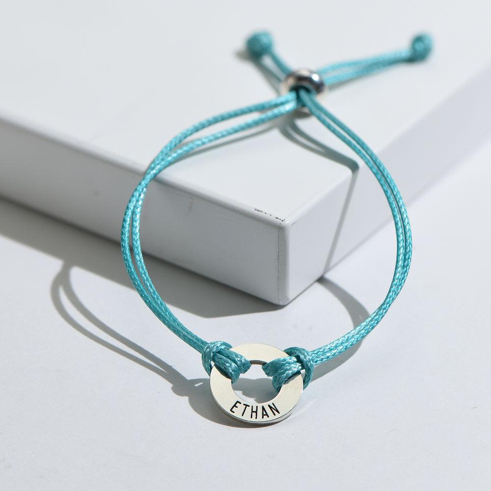 Kids ID Wax Cord Bracelet in Sterling Silver - 4