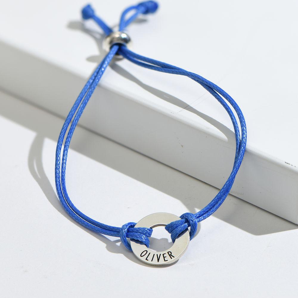Kids ID Wax Cord Bracelet in Sterling Silver - 5
