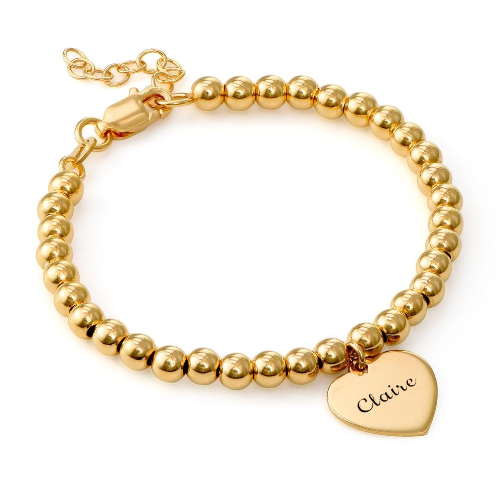 Engraved Heart Charm Bracelet for Girls in Sterling Silver