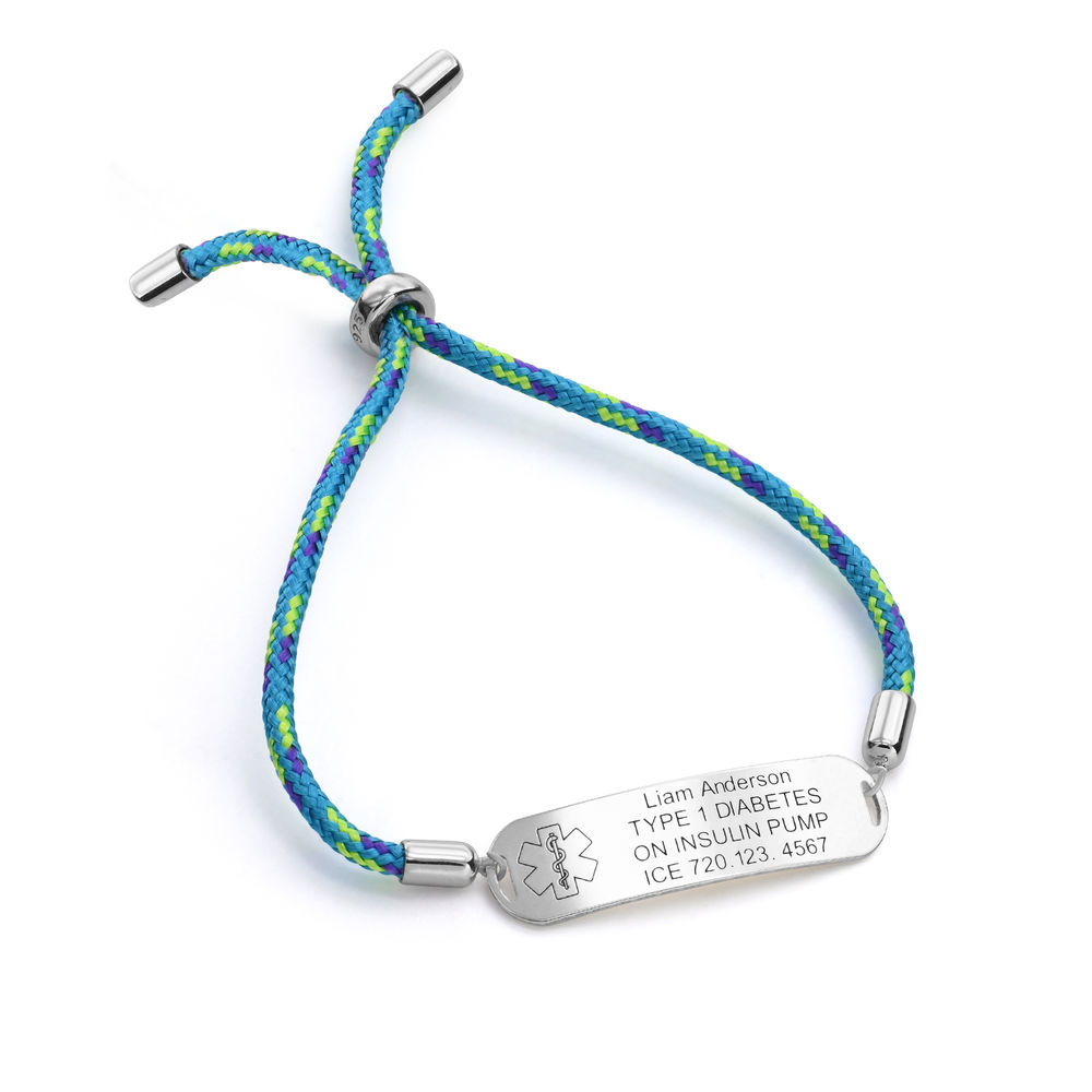 Medical ID Bracelet for Kids in Sterling Silver