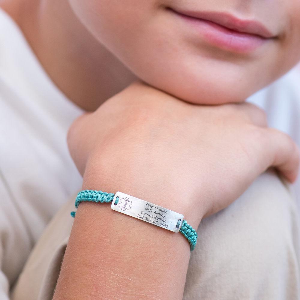 Kids Medical Alert Bracelet for Boys in Sterling Silver - 2