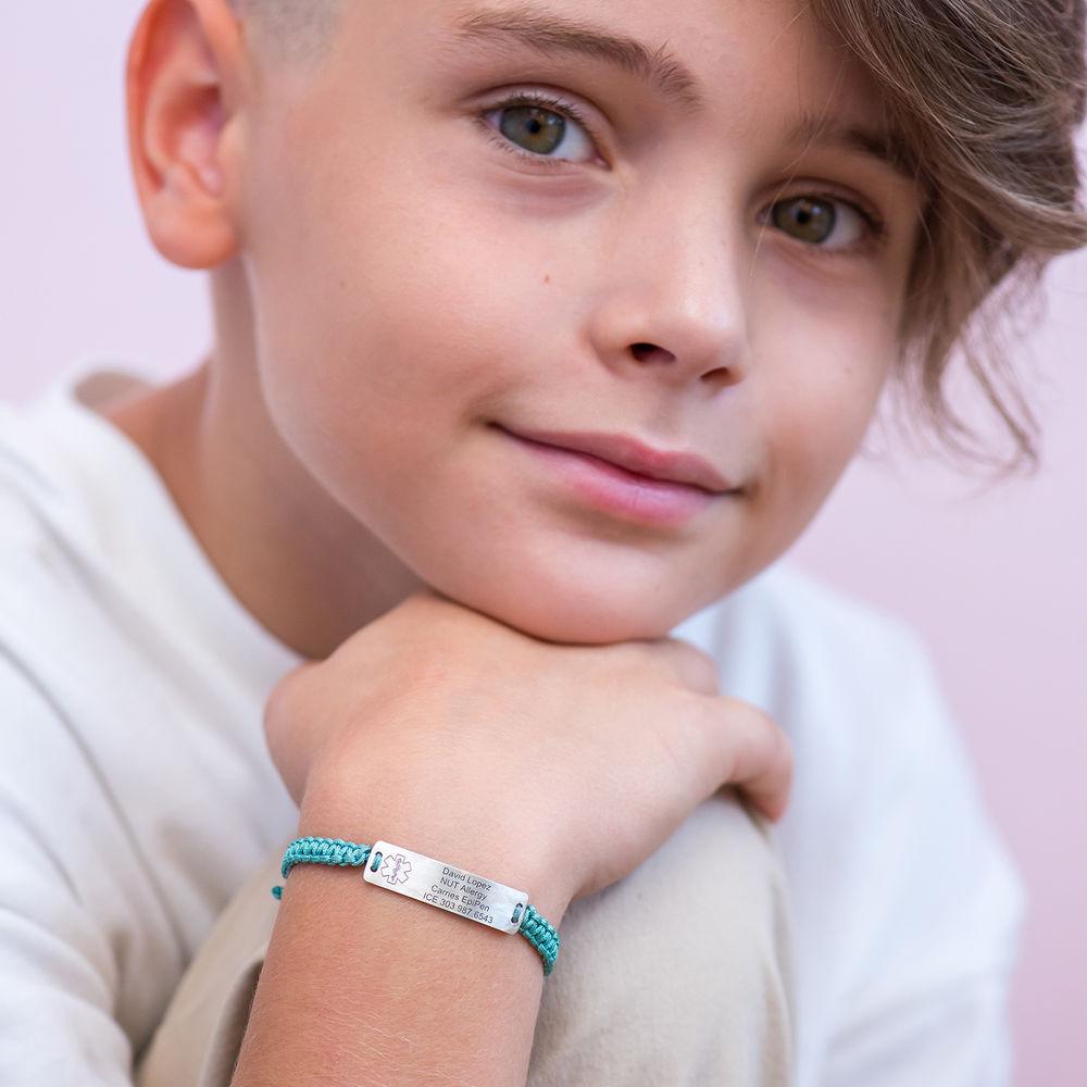 Kids Medical Alert Bracelet for Boys in Sterling Silver - 3