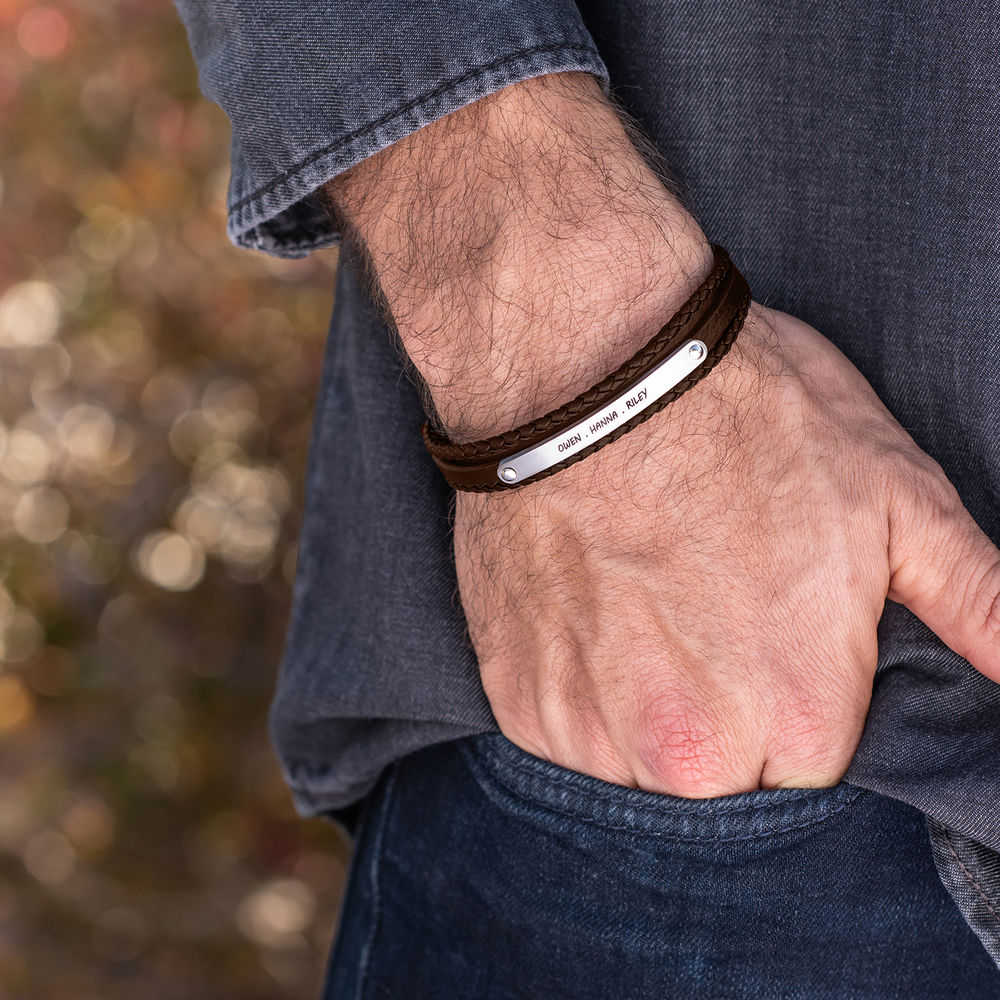 Stacked Brown Leather Bracelets with an Engraved Bar - 2