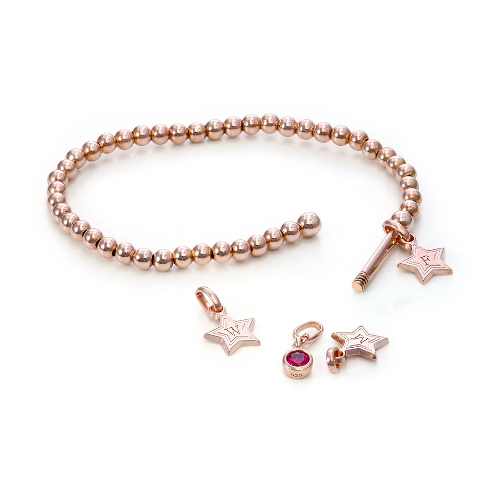 Having a Ball Bracelet with Custom Charms in Rose Gold Plating - 1