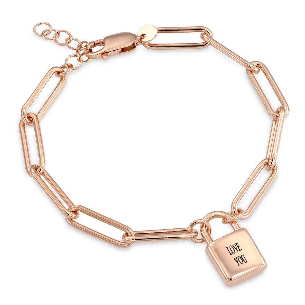 Allie Padlock Link Bracelet in Rose Gold Plating