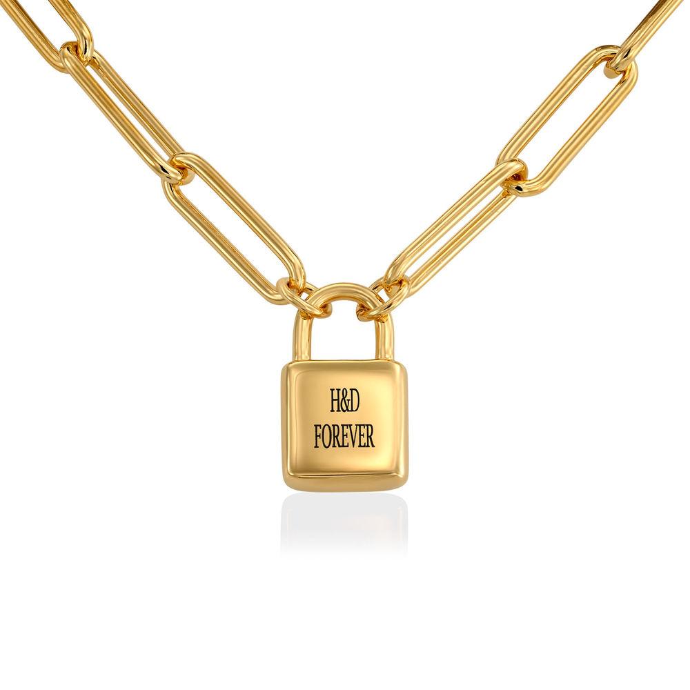 Allie Padlock Link Bracelet in Gold Vermeil - 1