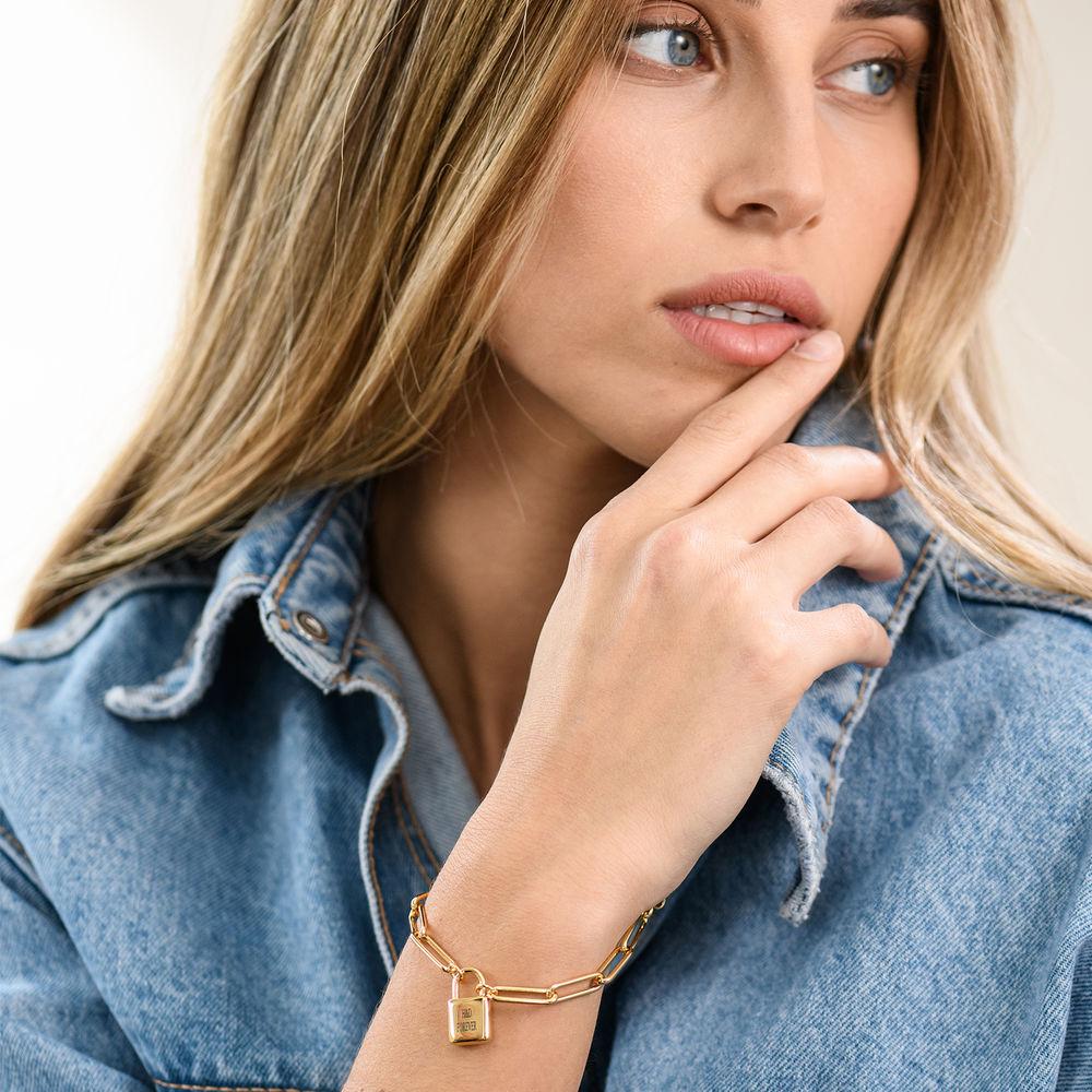 Allie Padlock Link Bracelet in Gold Vermeil - 2