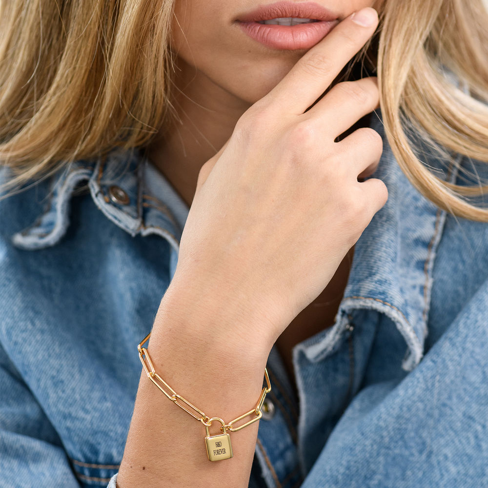 Allie Padlock Link Bracelet in Gold Vermeil - 3