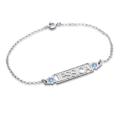 Cut Out Name Bracelet with Birthstones