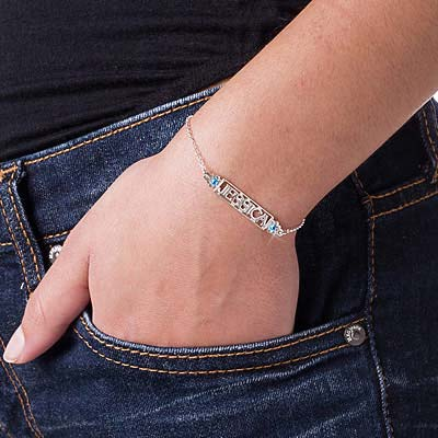 Cut Out Name Bracelet with Birthstones - 2