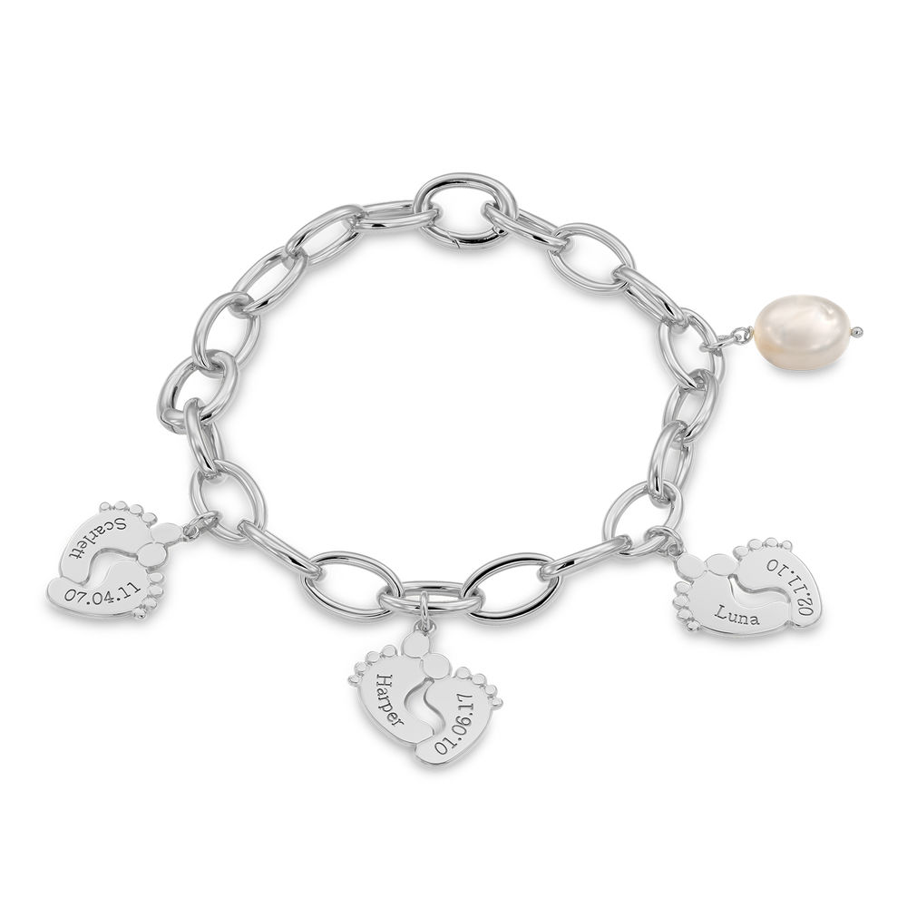 Mom Bracelet with Baby Feet Charms in Sterling Silver - 1