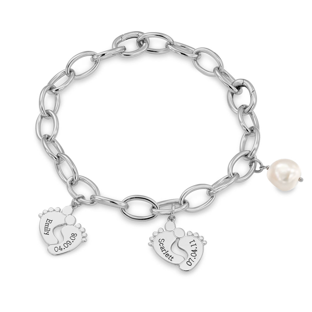 Mom Bracelet with Baby Feet Charms in Sterling Silver - 2