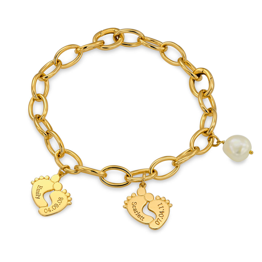 Mom Bracelet with Baby Feet Charms in Gold Plating - 2