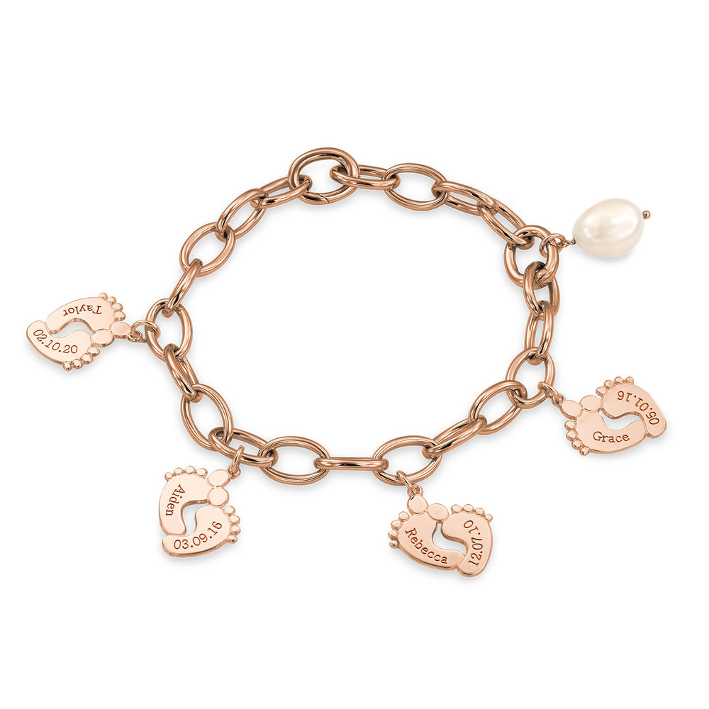 Mom Bracelet with Baby Feet Charms in Rose Gold Plating