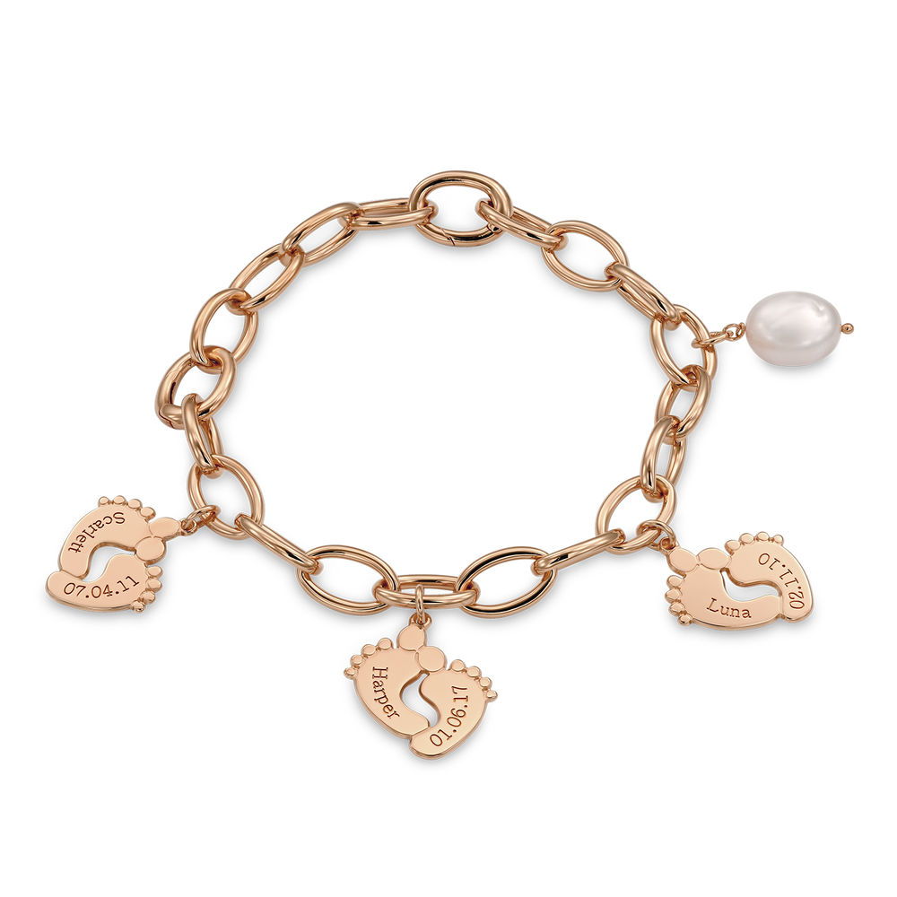 Mom Bracelet with Baby Feet Charms in Rose Gold Plating - 1