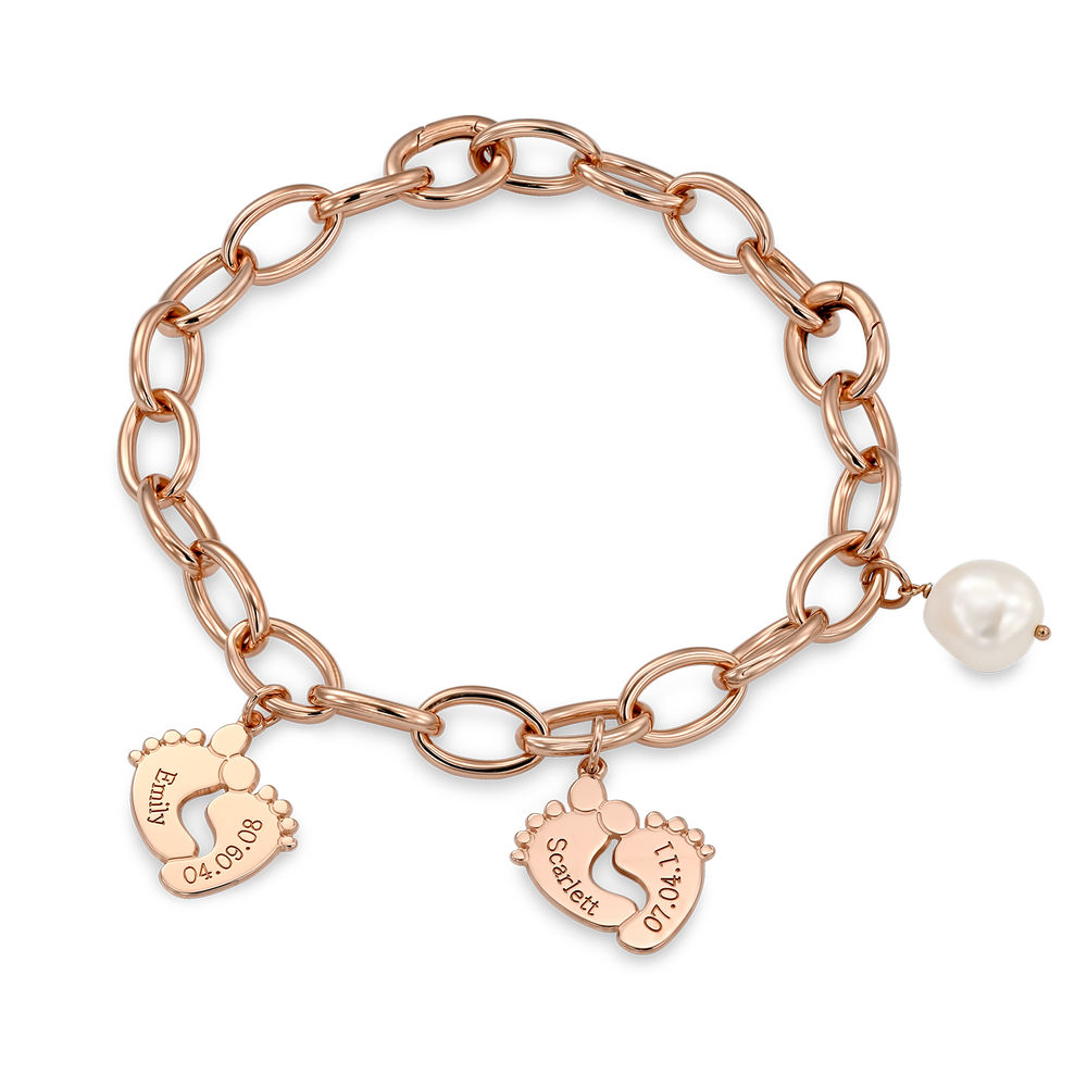 Mom Bracelet with Baby Feet Charms in Rose Gold Plating - 2