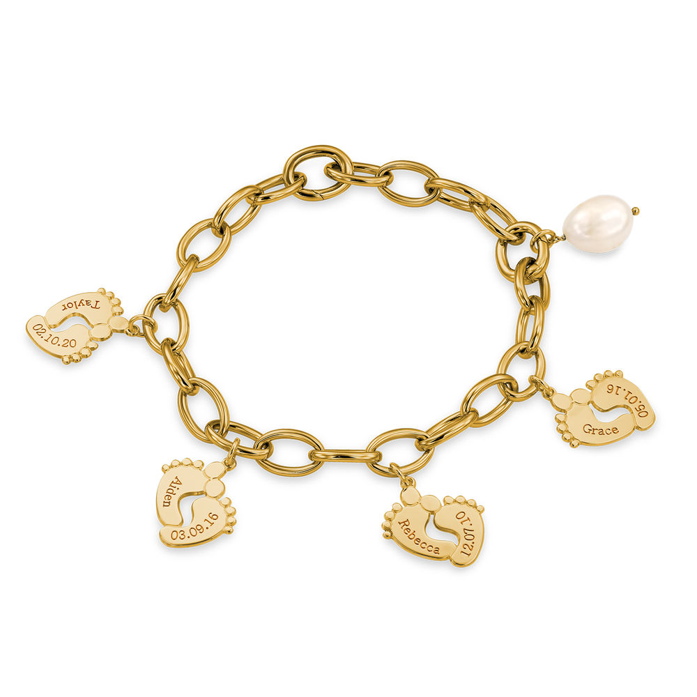 Mom Bracelet with Baby Feet Charms in Gold Vermeil