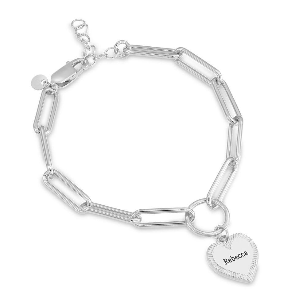 Heart Pendant Link Bracelet in Sterling Silver