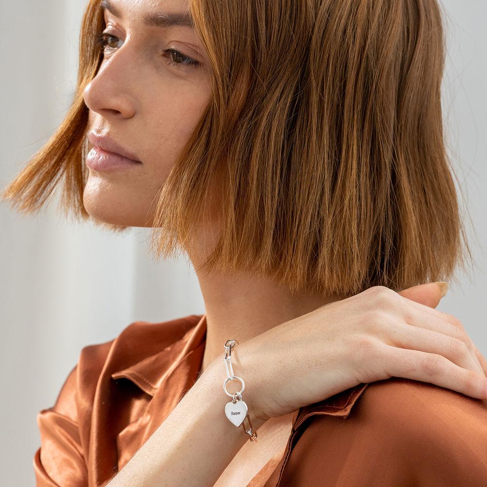 Heart Pendant Link Bracelet in Sterling Silver - 1