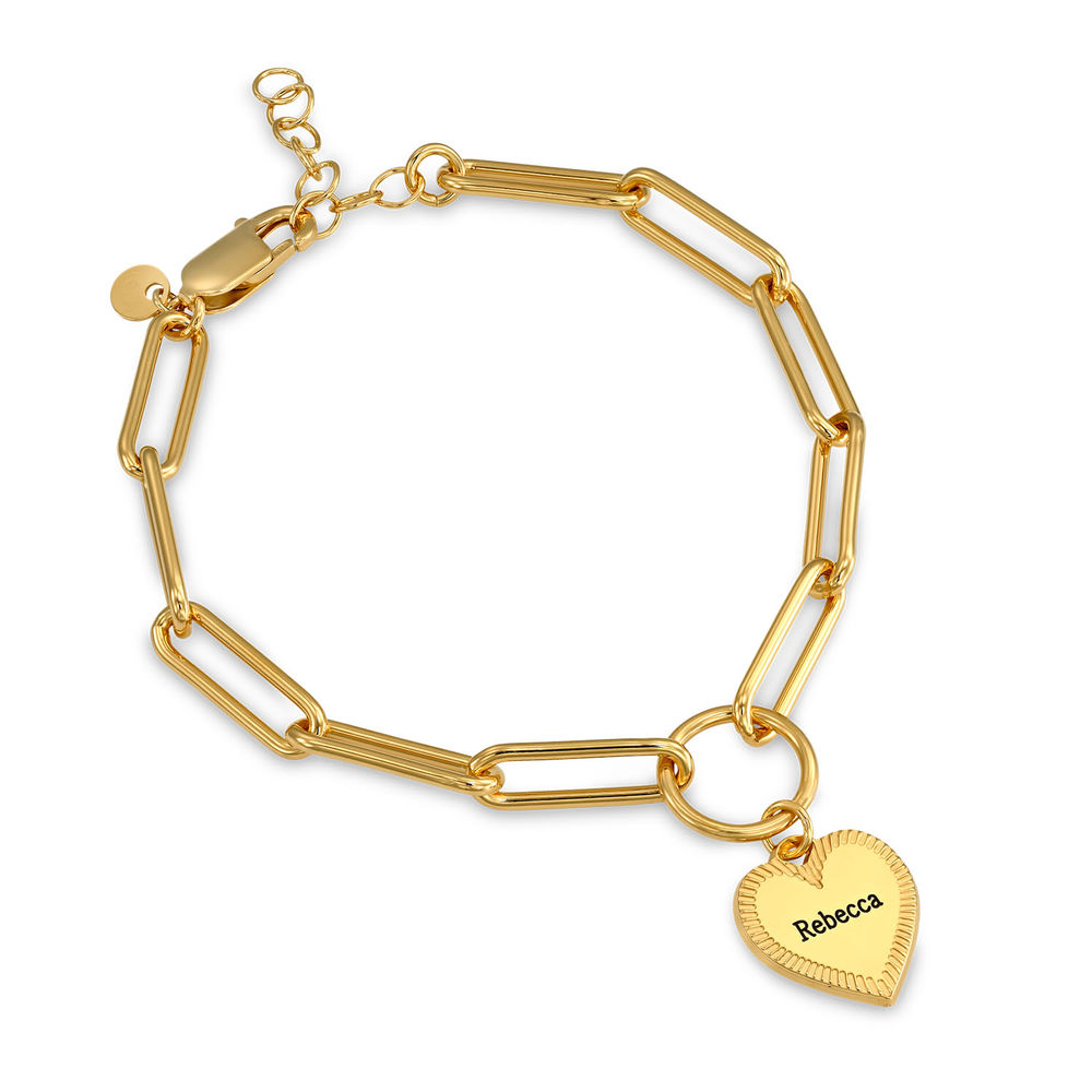 Heart Pendant Link Bracelet in Gold Plating