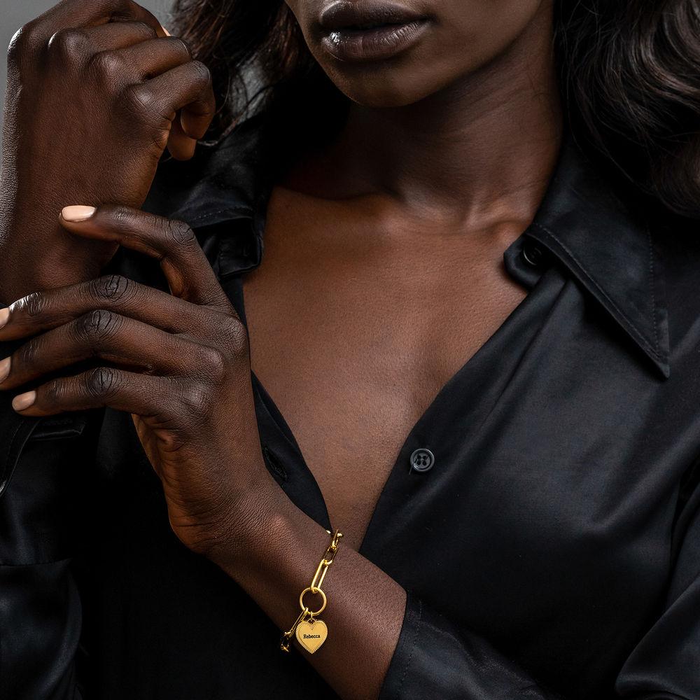 Heart Pendant Link Bracelet in Gold Plating - 3