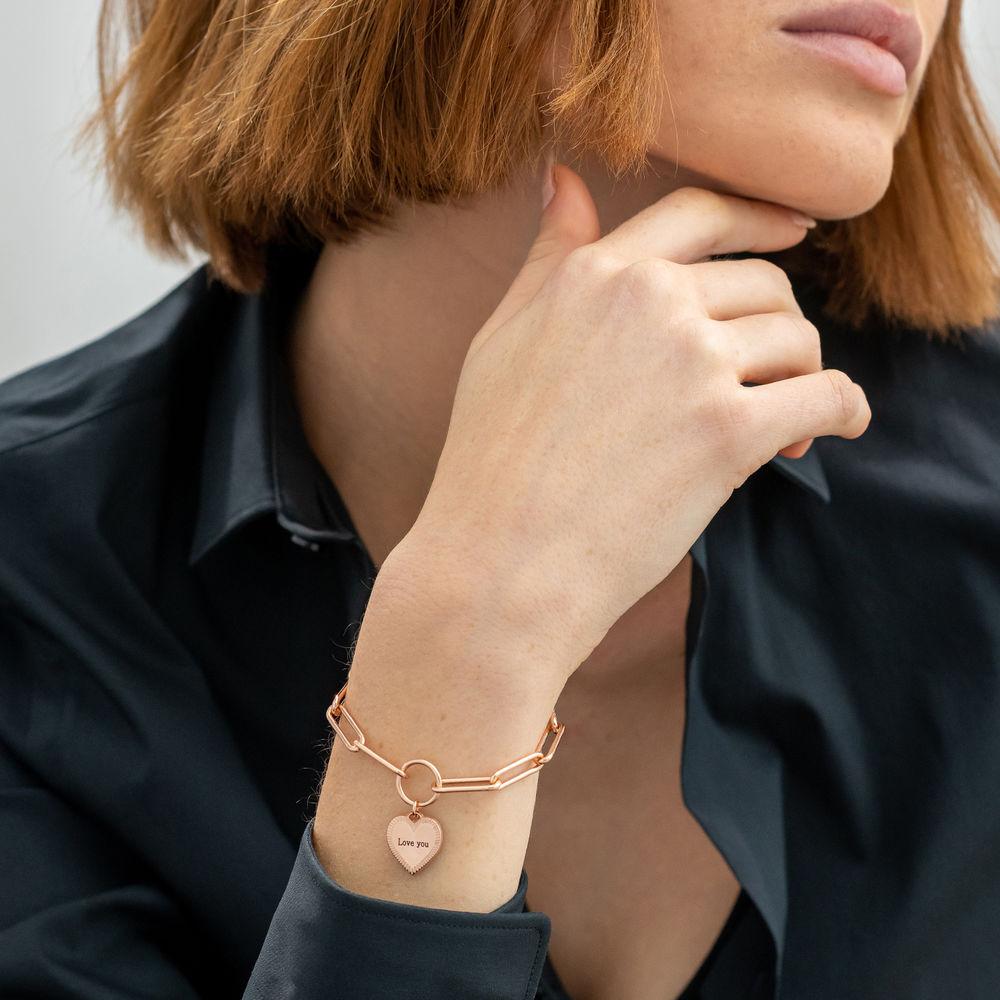 Heart Pendant Link Bracelet in Rose Gold Plating - 2