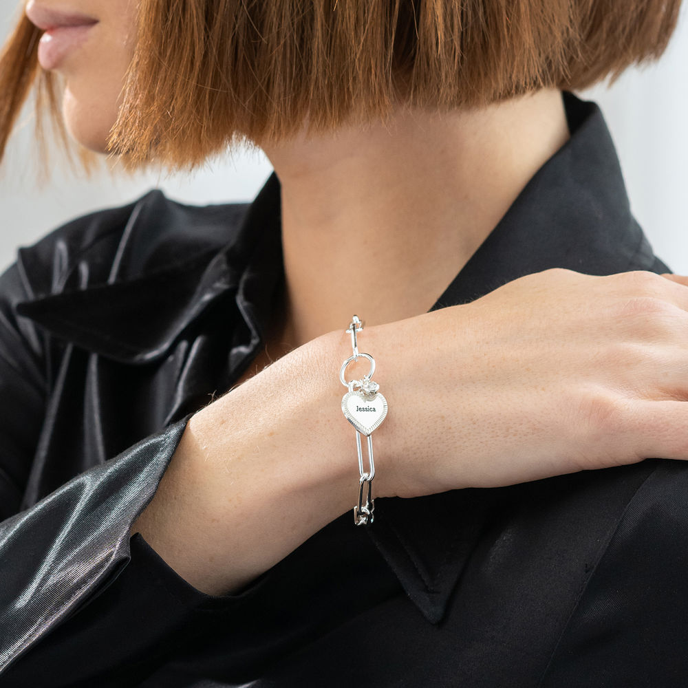 Heart Pendant Link Bracelet with Diamond in Sterling Silver - 2