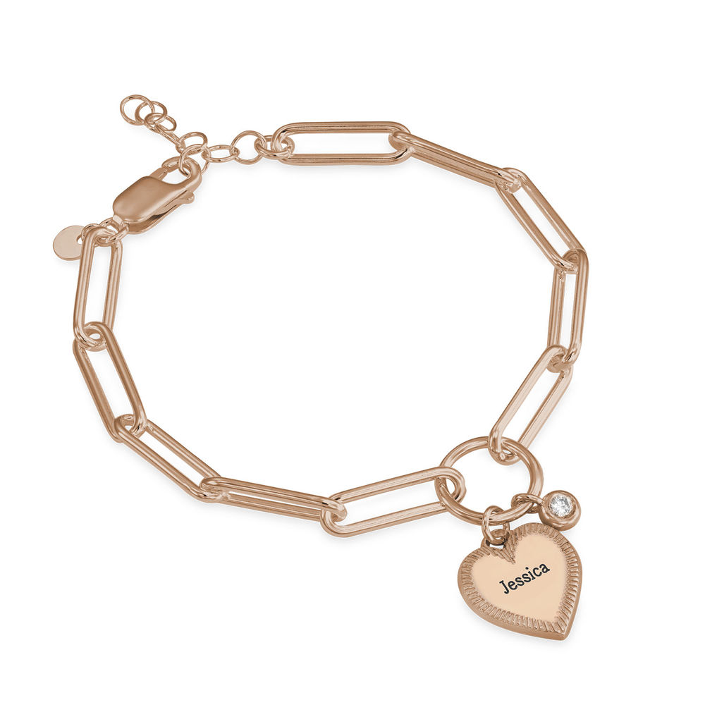Heart Pendant Link Bracelet with Diamond in Rose Gold Plating