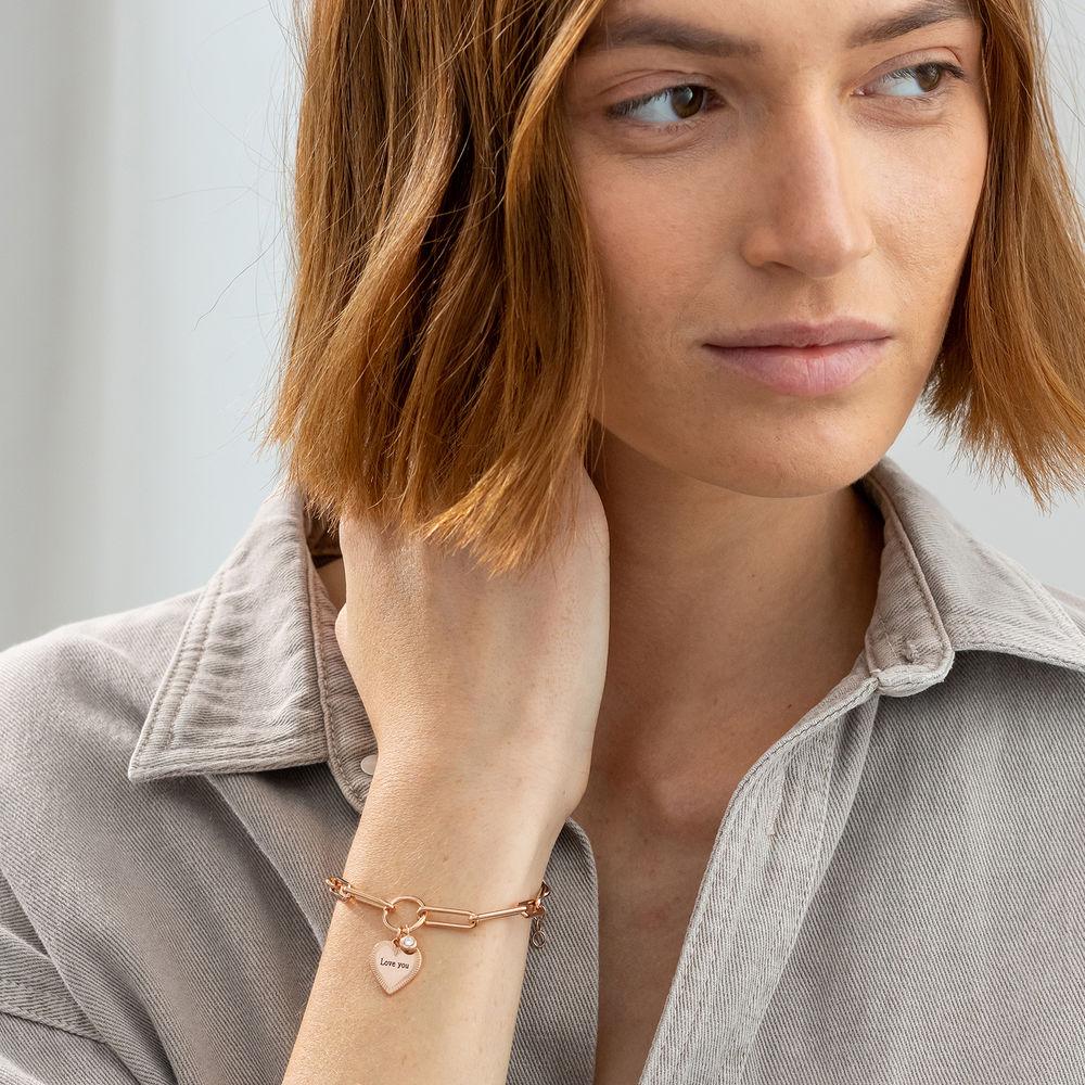 Heart Pendant Link Bracelet with Diamond in Rose Gold Plating - 1