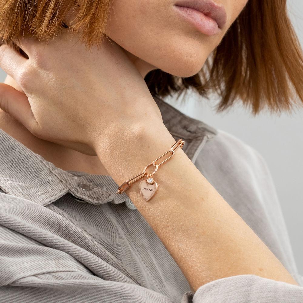 Heart Pendant Link Bracelet with Diamond in Rose Gold Plating - 2