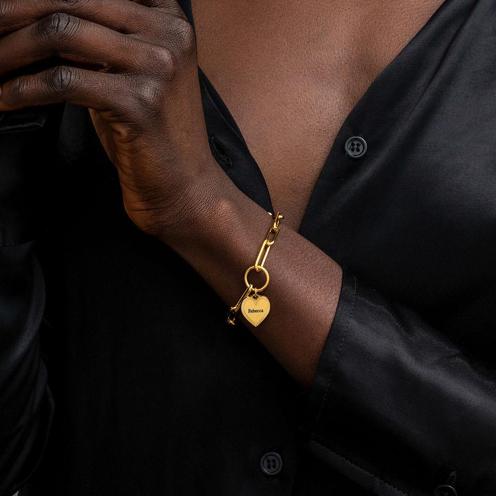 Heart Pendant Link Bracelet in Gold Vermeil - 2