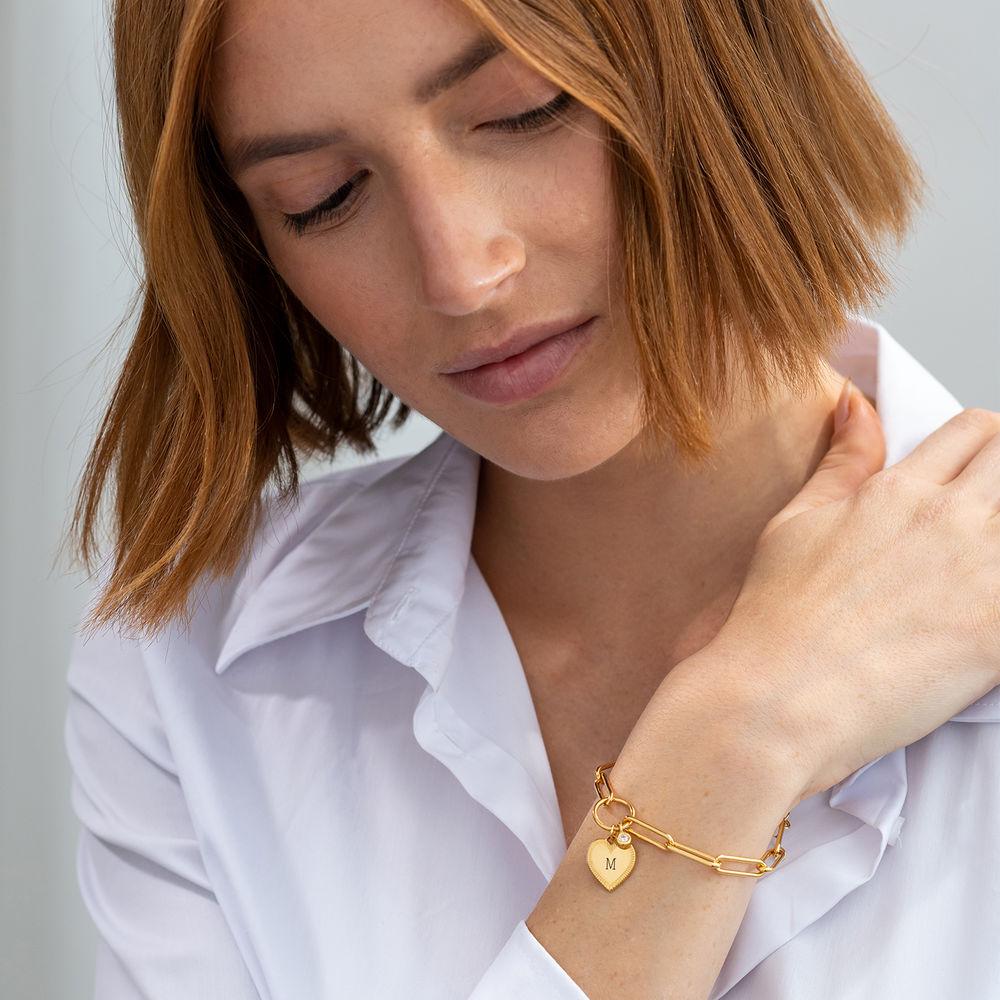 Heart Pendant Link Bracelet with Diamond in Gold Vermeil - 1