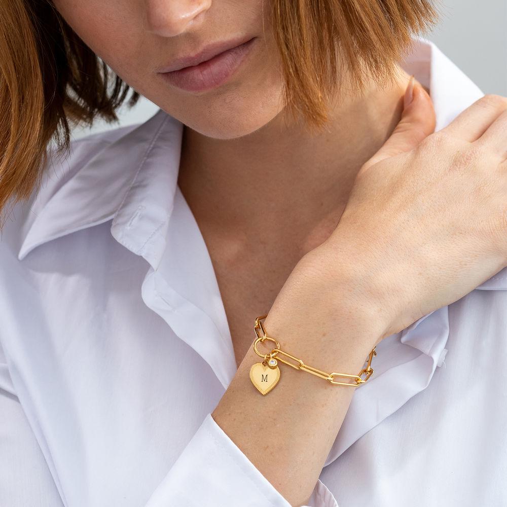 Heart Pendant Link Bracelet with Diamond in Gold Vermeil - 2