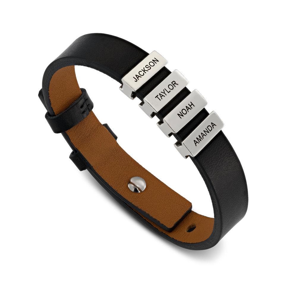 Men's Black Leather Bracelet with Custom Silver Beads - 1