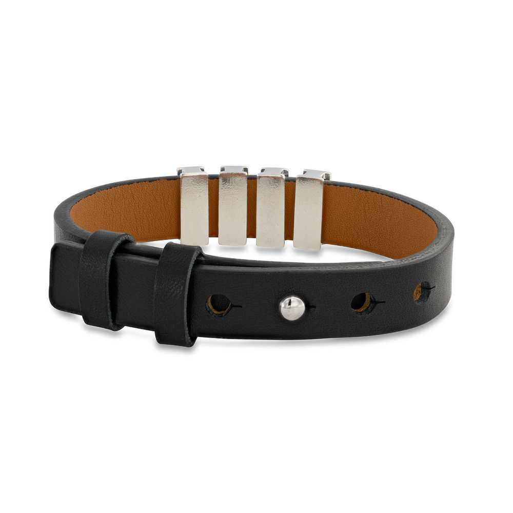 Mens Black Leather Bracelet with Custom Silver Beads - 2