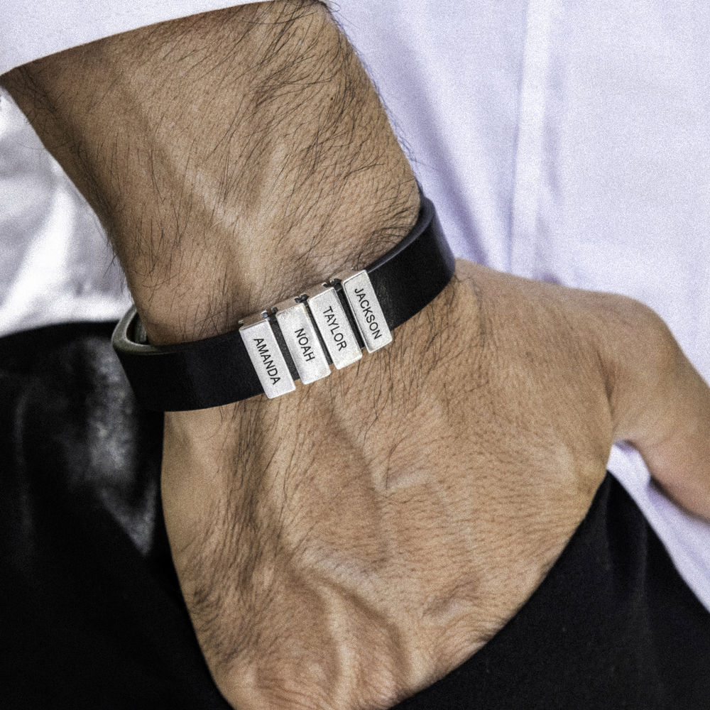 Mens Black Leather Bracelet with Custom Silver Beads - 3