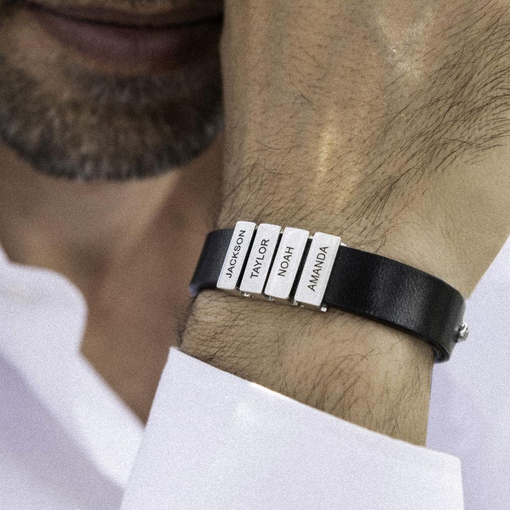 Men's Black Leather Bracelet with Custom Silver Beads - 4