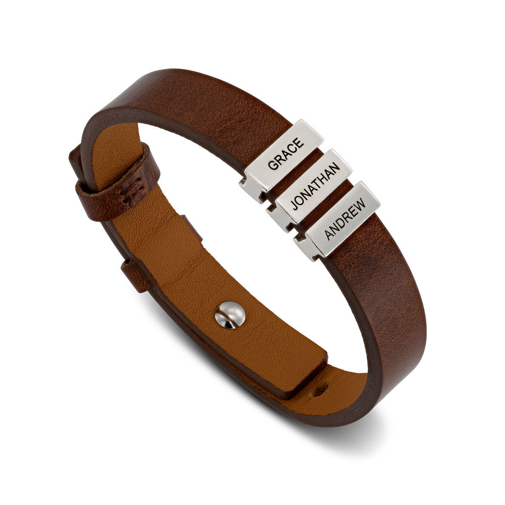 Mens Brown Leather Bracelet with Custom Silver Beads - 1