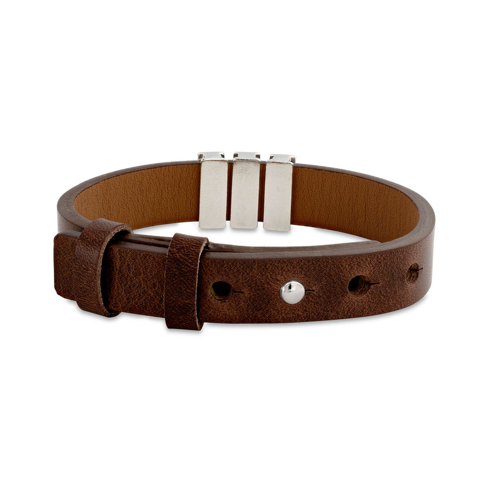 Mens Brown Leather Bracelet with Custom Silver Beads - 2