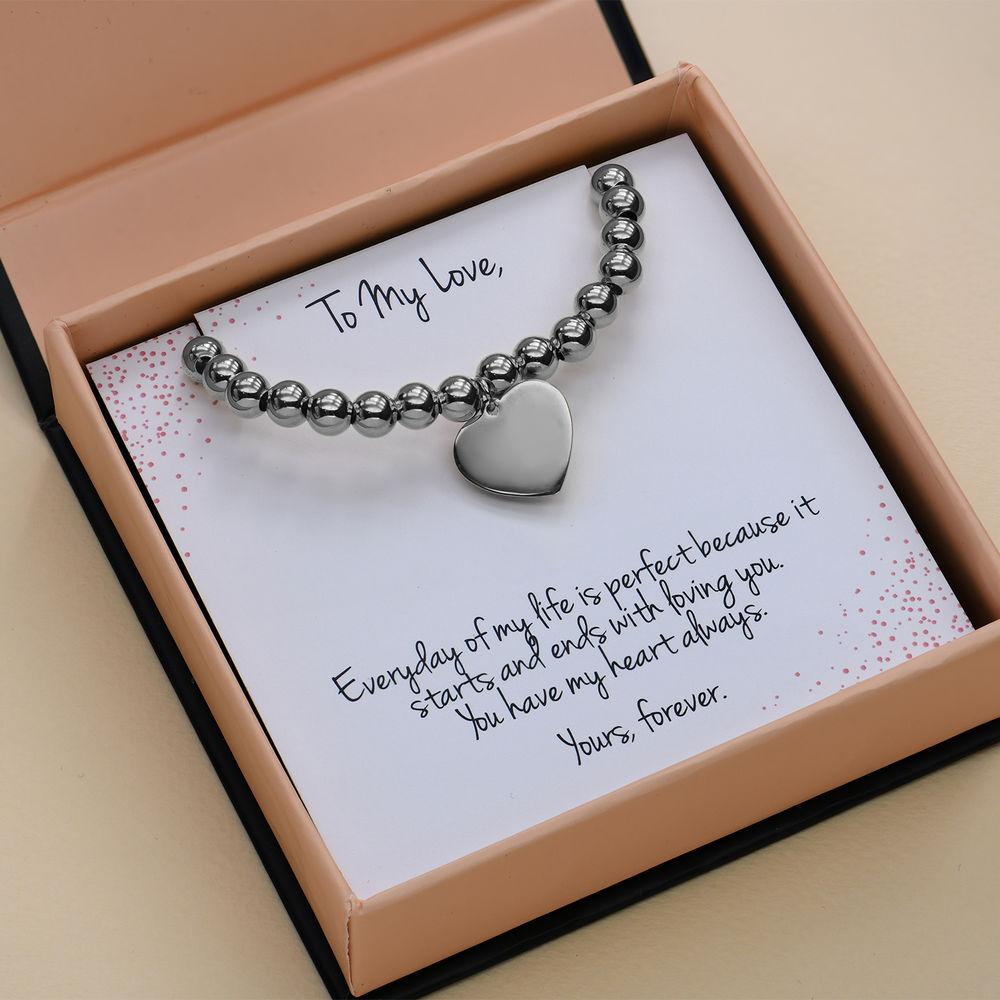 Heart Charm Beaded Bracelet in Sterling Silver with Prewritten Gift Note