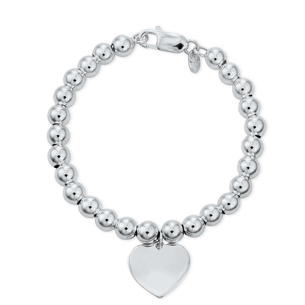 Heart Charm Beaded Bracelet in Sterling Silver with Prewritten Gift Note - 1